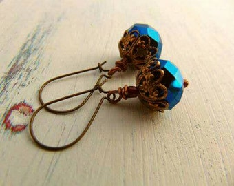 SALE Glass And Ox Brass Earrings