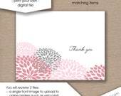 Pink Dahlia Thank You Note, INSTANT download / folding cards stationery, baby shower, bridal shower, pink grey floral stationery