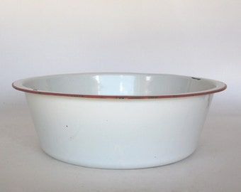 White Enamelware Pan with Red Trim