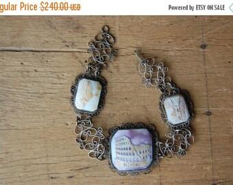 SALE Vintage ROMA Italian souvenir cameo shell bracelet ∙ vintage NAPOLI souvenir bracelet