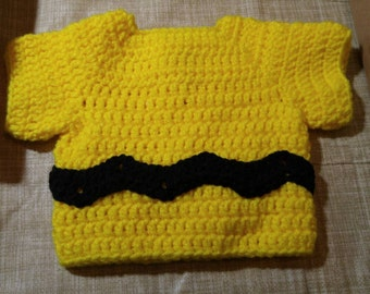Newborn baby size, Charlie Brown inspired pullover sweater.