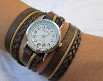 Leather Watch-Women wrist watch-Leather Wrap Watch Silver Bracelet Antique Watch- brown Genuine leather retro Watch- bracelet wrist watch