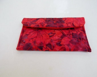 Red Floral Batik Make Up Bag/ Clutch