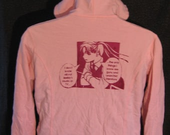 pink, 2X, anime punk, riot girl guns and literature hoodie