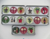 3 Sets of 5 Wine-Themed Refrigerator Magnets, Wine Fridge Magnets with Storage Tin, Wine Lover Gift