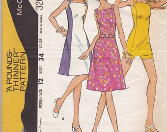 1970s Vintage Sewing Pattern, McCalls 3201, dress, shorts, tunic, size 12 SALE