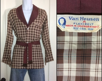 1950's belted Plaid Pajamas top with attached sash size A tan brown Van Heusen fringed tie belt feels rayon