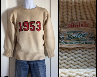 1950's 1953 University College Felt Letter Varsity Ivy League Pullover Sulco Sweater looks size Small