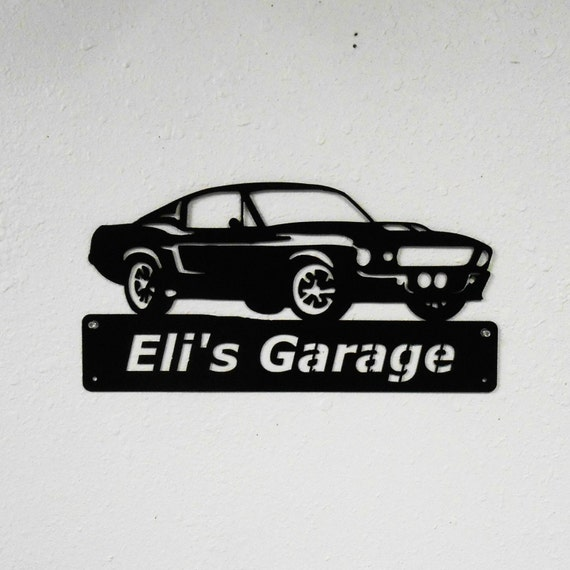 1967 Ford Mustang - Personalized - Man Cave - Eleanor- Bullit -GT500- Garage Sign -Satin Black- Car Art