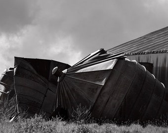 Abandoned Farm, Architecture Photograph, Grain Silo in black and white