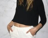 Vintage Black Long Sleeved Crop Top