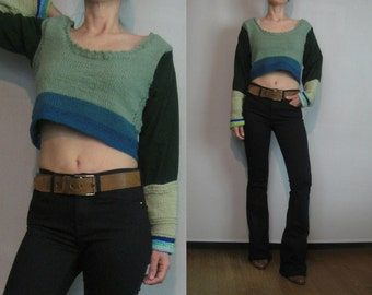 70s COLOR BLOCK CROPPED Vintage Deep Scoop Neck Hand Knit Knitted Sage Forest Green Blue Cotton Crop Sweater xs Small s/m 1970s