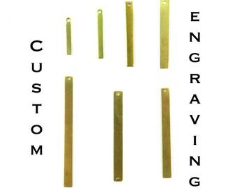 Custom Engraving Long & Thin Rectangle Charms