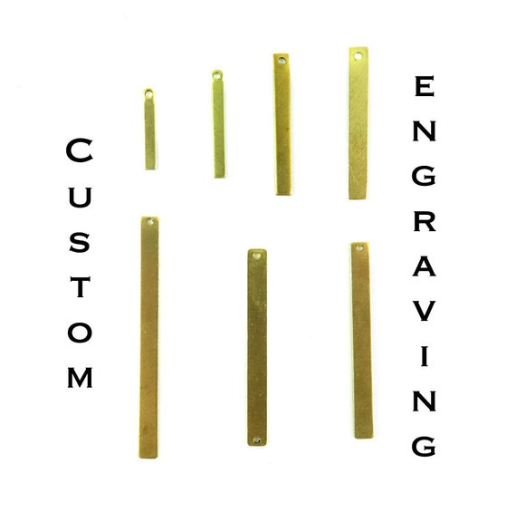 Custom Engraving Long & Thin Rectangle Charms