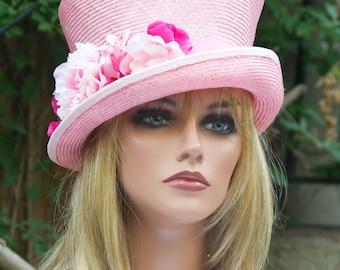 Kentucky Derby Hat, Women's Pink Hat with Flowers, Wedding Hat, Pink Top Hat, Pink Cloche, Women's Pink Straw Hat, Ascot Hat, Fancy Hat