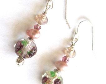 Drop Earrings, Crystal Earrings, Cultured Pearl Earrings Silver Earrings, Dangle earrings Crystal Earrings Brown Earrings, Beaded earrings,