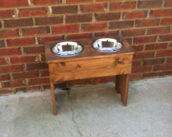 Extra Large Raised Dog Bowl Shabby Stand -22'' Tall - Two 3 Quart Bowls