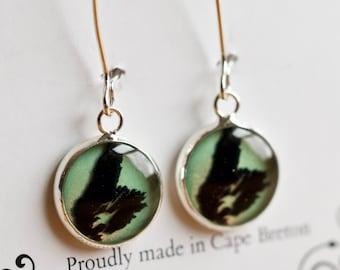 Cape Breton Island Earrings, Dangle Earrings, CB Earrings, Silver or Bronze any colour custom resin earrings with transparency silhouette