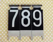 Three Vintage Cash Register Numbers, Numbers 7, 8, 9, Display Numbers, Three Metal Numbers, Cash Register Flags