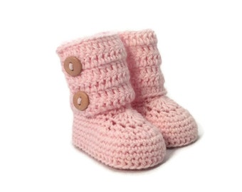 Tall Button Cuff Baby Booties in Pink Merino Wool