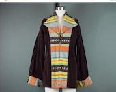 40% OFF 60s 70s Blanket Jacket Coat Serape Vintage Brown Corduroy Southwestern Spread Collar M