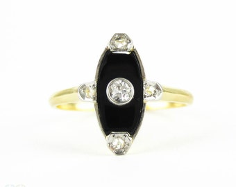 Art Deco Onyx & Diamond Dress Ring, Navette Shape Onyx with Old European and Rose Cut Diamonds. Circa 1920s, 18 Carat Gold.