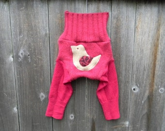 SMALL Upcycled Wool Longies Soaker Cover Diaper Cover With Added Doubler Raspberry PinkWith Bird Applique SMALL 3-6M
