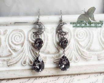 DARK MOON Aged Silver Filigree Crescent moon earrings with swarovski crystals