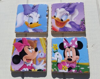 One of a Kind Minnie Mouse and Daisy Duck Disney Coaster Set of 4 Tea Coffee Beer Coasters