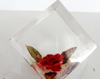 Red Orange Rose Encased in Resin Paperweight Office Supplies Paper Handling Paperweights