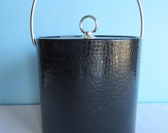 Vintage Black Ice Bucket - Faux Alligator Textured Ice Bucket