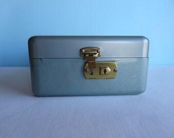 Vintage Green Metal Card File - Storage Box - Check File Box
