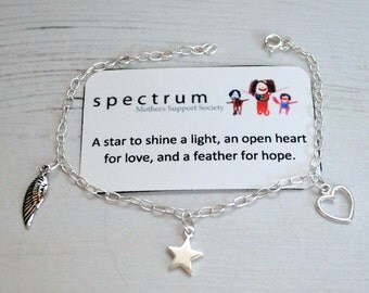 Shine A Light Charm Bracelet Star Heart Feather Sterling Silver