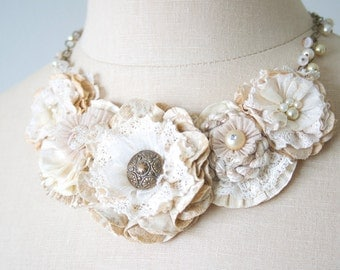 Rustic Wedding Necklace for Bride, Floral Statement Necklace, Bridal Necklace, Ivory White Fabric Flower Necklace, Beach Wedding Jewelry