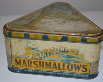 RARE Bluebird Marshmallow Harry Horne tin - metal box toffee candy advertising - blue bird