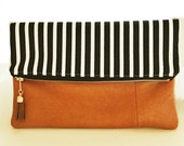 Vintage Leather Foldover Zip Tassel Clutch Black and White Skinny Stripe READY TO SHIP