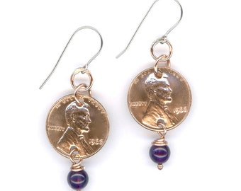 1966 Penny Earrings 50th Birthday Gift 50th Anniversary Gift Amethyst Beads Coin 1966 Gift