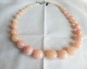 Vintage Laila Rowe Pink Art Glass Graduated Knotted Bead Necklace