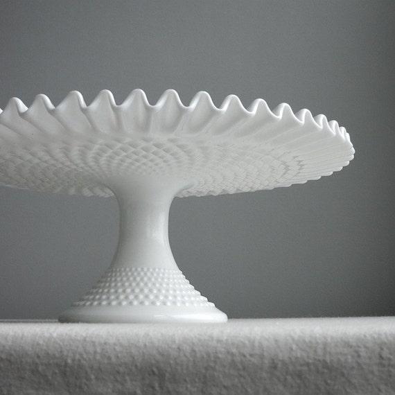 Vintage Hobnail Milk Glass Wedding Cake Stand by Fenton - Pedestal Cake Plate White Decor