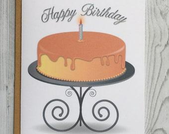 Birthday Cake Card, Birthday Invitation Card, Blank Card, Greeting Card