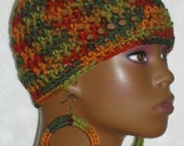 Ready to Ship Autumn Boo Crochet Skullcap Beanie Snug Fit with Earrings by Razonda Lee Razondalee