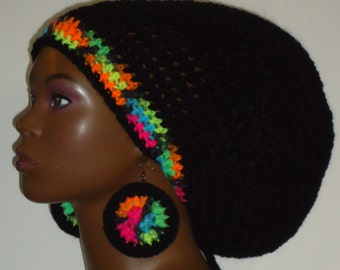 Black Neon Trim Crochet Large Rasta Tam with Drawstring and Earrings Dreadlocks Rasta Tam by Razonda Lee Razondalee
