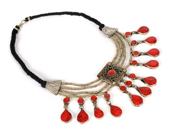 Vintage Tribal Kuchi Red Jasper Necklace