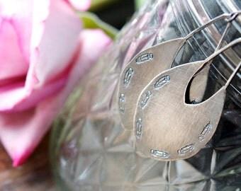 Sterling Silver, Chandelier Earrings, Drop Earrings, Feather Earrings... Kismet...