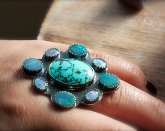 Turquoise, Australian Black Opal, Sterling Silver Cocktail Ring, Statement Ring... Size 7.5, Size 8... I Dream In Color...