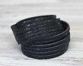Multi Strand Leather Cuff Snakeskin Print Black Leather Double Wrap Bracelet