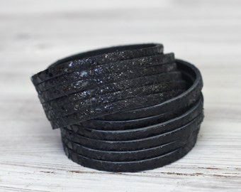Multi Strand Leather Cuff Snakeskin Print Black Leather Double Wrap Bracelet