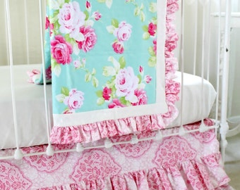 Shabby Chic Aqua and Pink Roses Crib Bedding Set, Custom Bumperless Baby Bedding for a Unique Baby Girl Nursery- Morning Rose