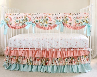 Blush Pink Floral Crib Bedding Set, Pink Coral and Aqua Baby Bedding with Metallic Gold Accents, Baby Girl Bedding Set for Custom Nursery