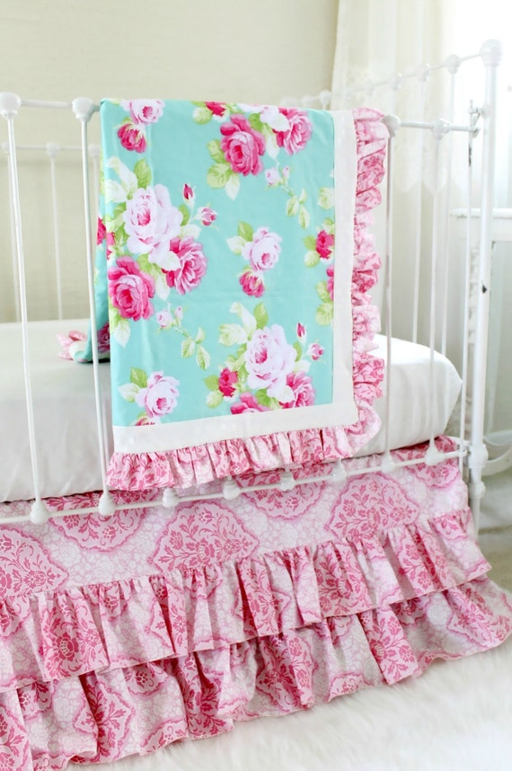 Shabby Chic Aqua and Pink Roses Crib Bedding Set Custom